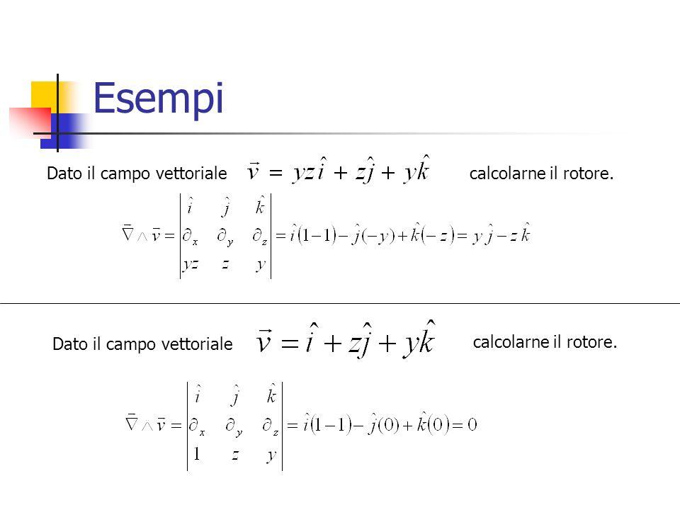 Esempi Dato il campo vettorialecalcolarne il rotore. Dato il campo vettoriale calcolarne il rotore.