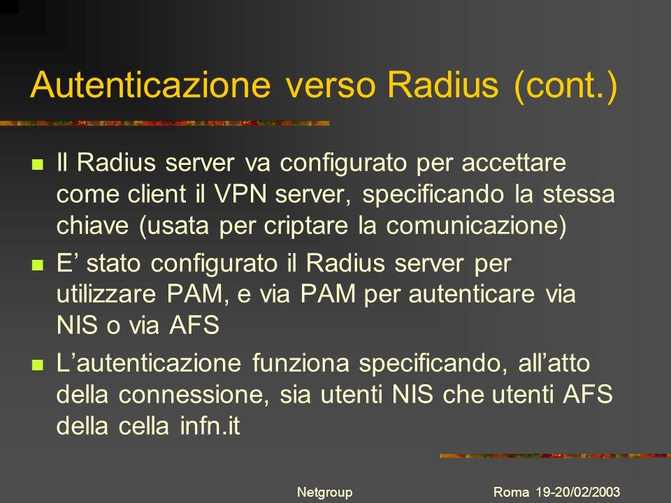 Roma 19-20/02/2003Netgroup Autenticazione verso Radius (cont.) Il Radius server va configurato per accettare come client il VPN server, specificando l