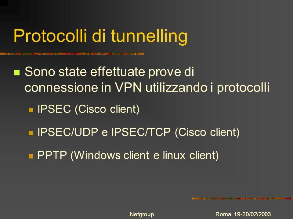 Roma 19-20/02/2003Netgroup Protocolli di tunnelling Sono state effettuate prove di connessione in VPN utilizzando i protocolli IPSEC (Cisco client) IP