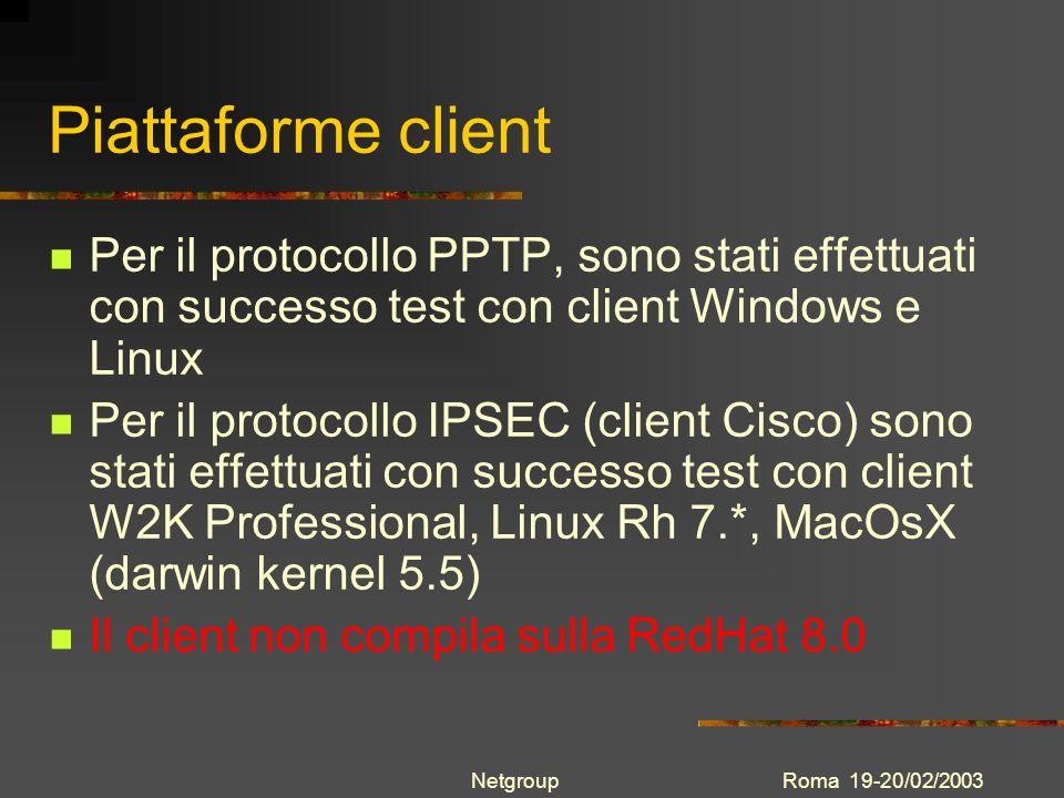 Roma 19-20/02/2003Netgroup Piattaforme client Per il protocollo PPTP, sono stati effettuati con successo test con client Windows e Linux Per il protoc