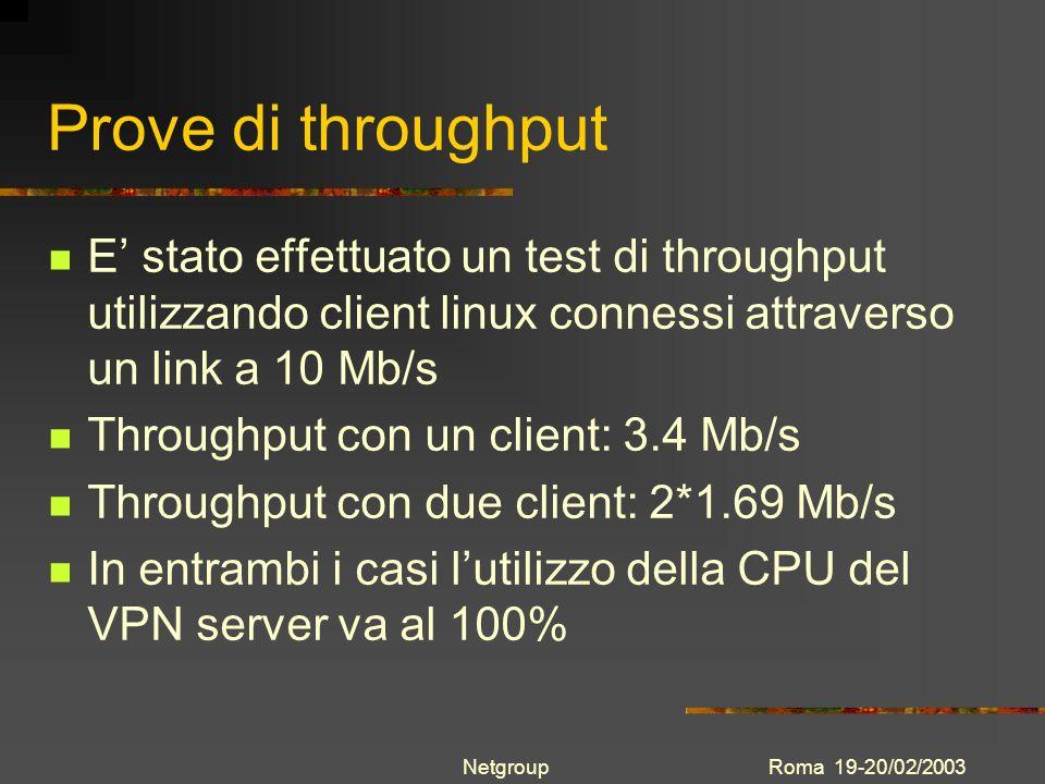 Roma 19-20/02/2003Netgroup Prove di throughput E stato effettuato un test di throughput utilizzando client linux connessi attraverso un link a 10 Mb/s