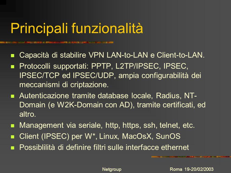 Roma 19-20/02/2003Netgroup Principali funzionalità Capacità di stabilire VPN LAN-to-LAN e Client-to-LAN. Protocolli supportati: PPTP, L2TP/IPSEC, IPSE