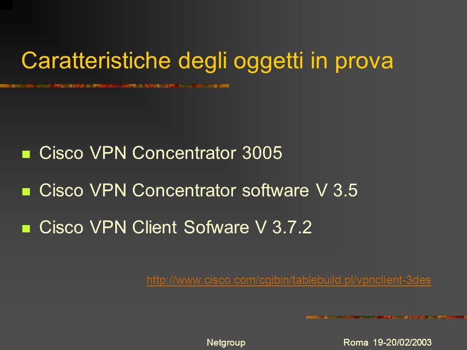 Roma 19-20/02/2003Netgroup Caratteristiche degli oggetti in prova Cisco VPN Concentrator 3005 Cisco VPN Concentrator software V 3.5 Cisco VPN Client S