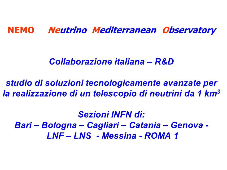 NEMO Neutrino Mediterranean Observatory Collaborazione italiana – R&D studio di soluzioni tecnologicamente avanzate per la realizzazione di un telescopio di neutrini da 1 km 3 Sezioni INFN di: Bari – Bologna – Cagliari – Catania – Genova - LNF – LNS - Messina - ROMA 1