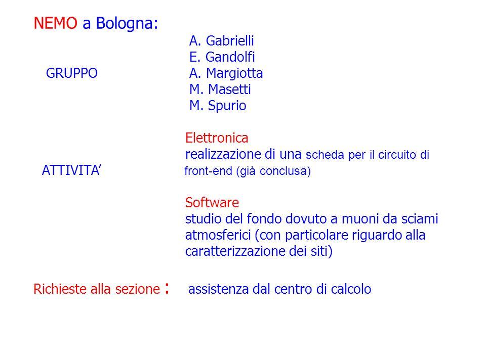 NEMO a Bologna: A. Gabrielli E. Gandolfi GRUPPO A.