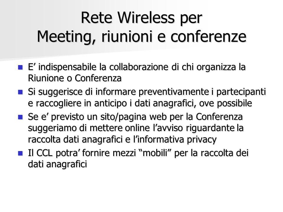 Rete Wireless per Meeting, riunioni e conferenze E indispensabile la collaborazione di chi organizza la Riunione o Conferenza E indispensabile la coll