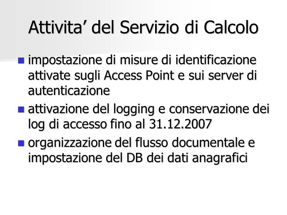 Attivita del Servizio di Calcolo impostazione di misure di identificazione attivate sugli Access Point e sui server di autenticazione impostazione di
