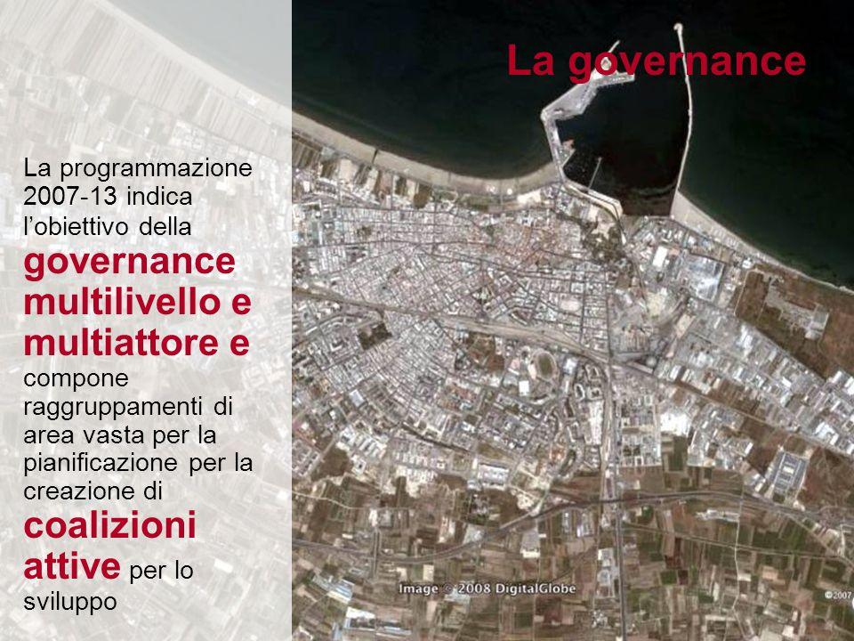 La programmazione 2007-13 indica lobiettivo della governance multilivello e multiattore e compone raggruppamenti di area vasta per la pianificazione per la creazione di coalizioni attive per lo sviluppo La governance