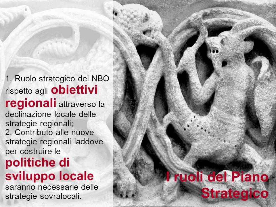 1. Ruolo strategico del NBO rispetto agli obiettivi regionali attraverso la declinazione locale delle strategie regionali; 2. Contributo alle nuove st