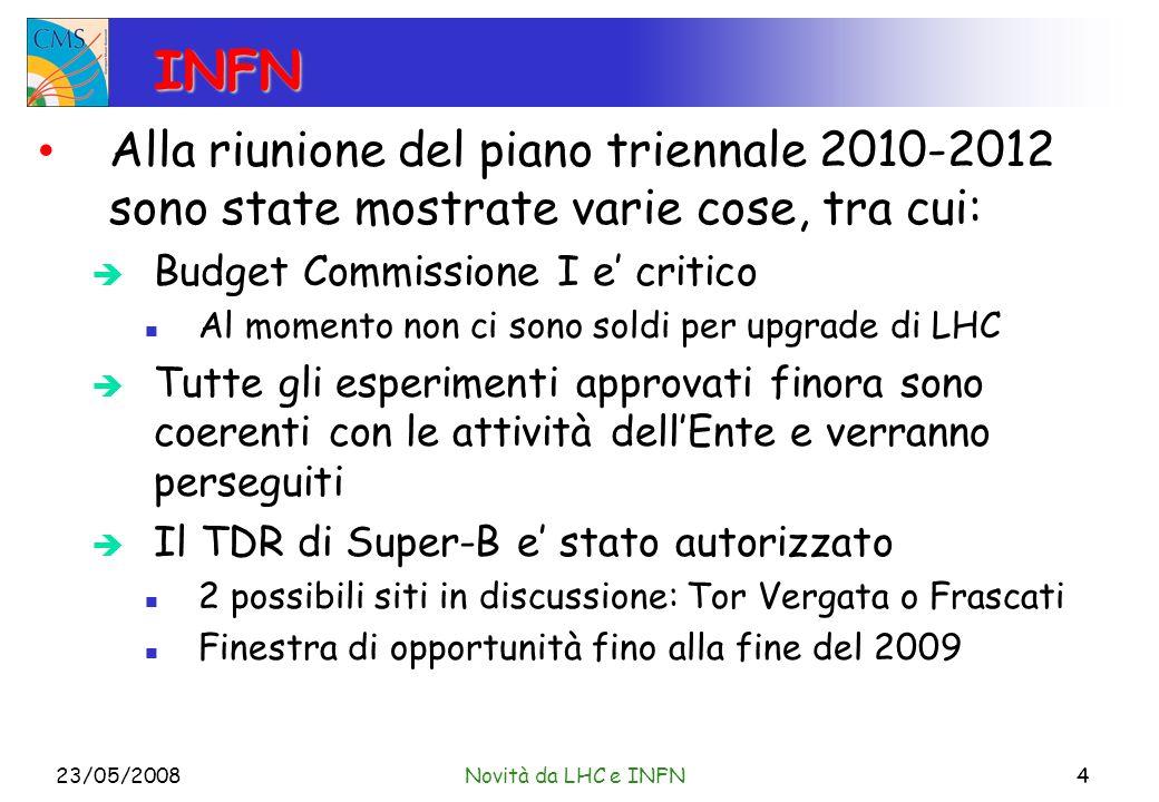 INFN Alla riunione del piano triennale 2010-2012 sono state mostrate varie cose, tra cui: Budget Commissione I e critico Al momento non ci sono soldi per upgrade di LHC Tutte gli esperimenti approvati finora sono coerenti con le attività dellEnte e verranno perseguiti Il TDR di Super-B e stato autorizzato 2 possibili siti in discussione: Tor Vergata o Frascati Finestra di opportunità fino alla fine del 2009 23/05/2008Novità da LHC e INFN4