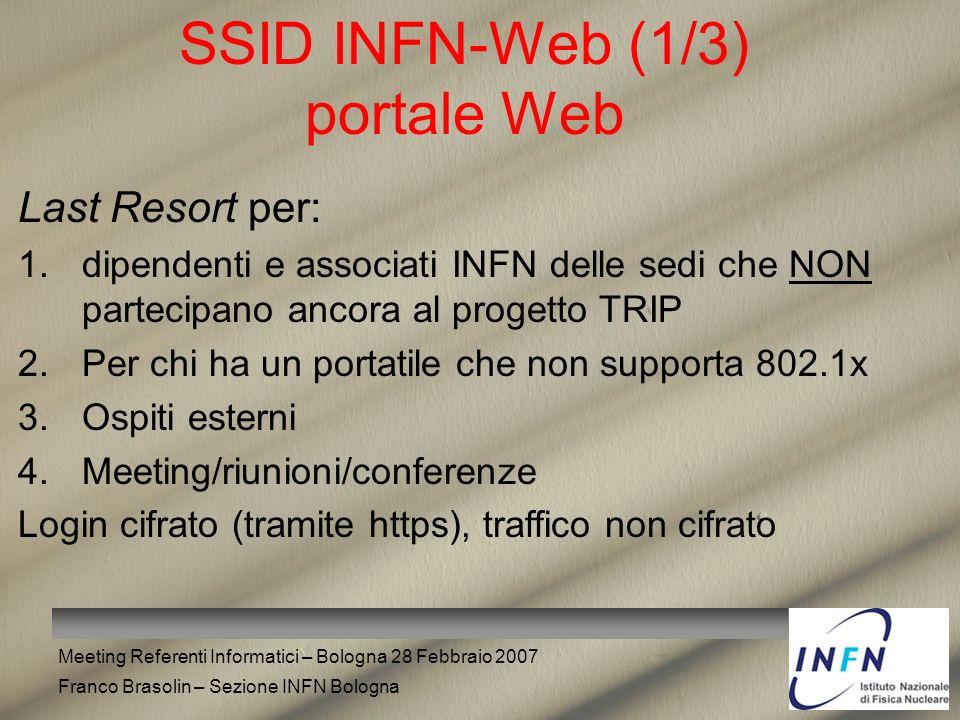 Meeting Referenti Informatici – Bologna 28 Febbraio 2007 Franco Brasolin – Sezione INFN Bologna SSID INFN-Web (1/3) portale Web Last Resort per: 1.dip