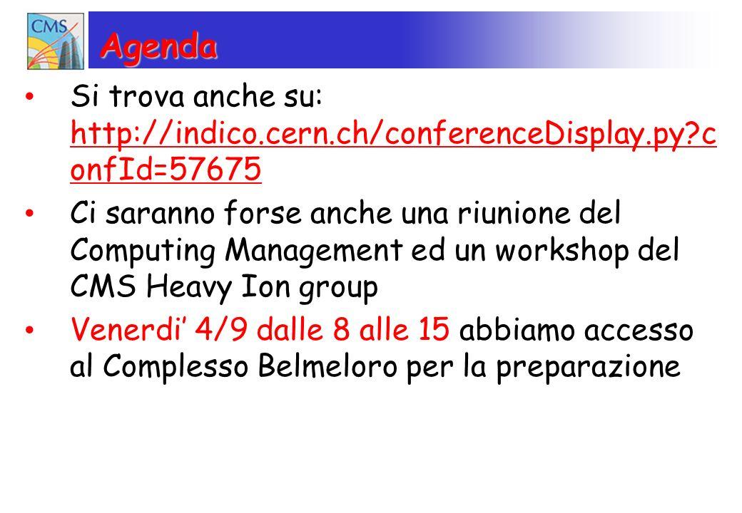 Agenda Si trova anche su: http://indico.cern.ch/conferenceDisplay.py c onfId=57675 http://indico.cern.ch/conferenceDisplay.py c onfId=57675 Ci saranno forse anche una riunione del Computing Management ed un workshop del CMS Heavy Ion group Venerdi 4/9 dalle 8 alle 15 abbiamo accesso al Complesso Belmeloro per la preparazione