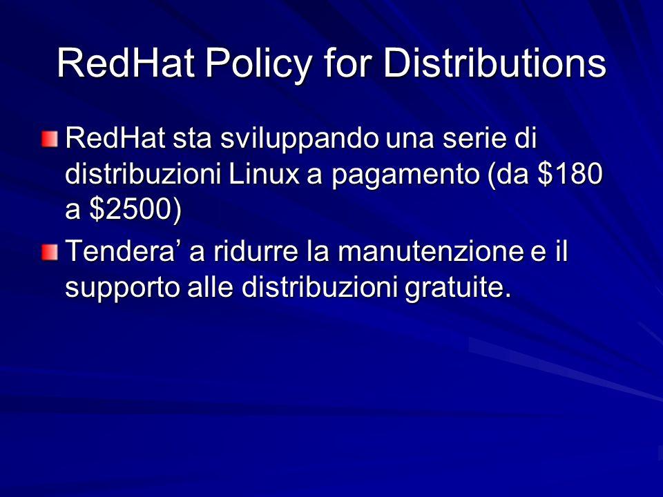 RedHat Policy for Distributions RedHat sta sviluppando una serie di distribuzioni Linux a pagamento (da $180 a $2500) Tendera a ridurre la manutenzione e il supporto alle distribuzioni gratuite.