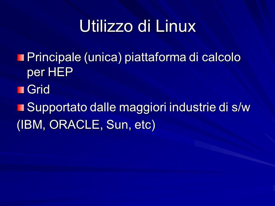 Utilizzo di Linux Principale (unica) piattaforma di calcolo per HEP Grid Supportato dalle maggiori industrie di s/w (IBM, ORACLE, Sun, etc)