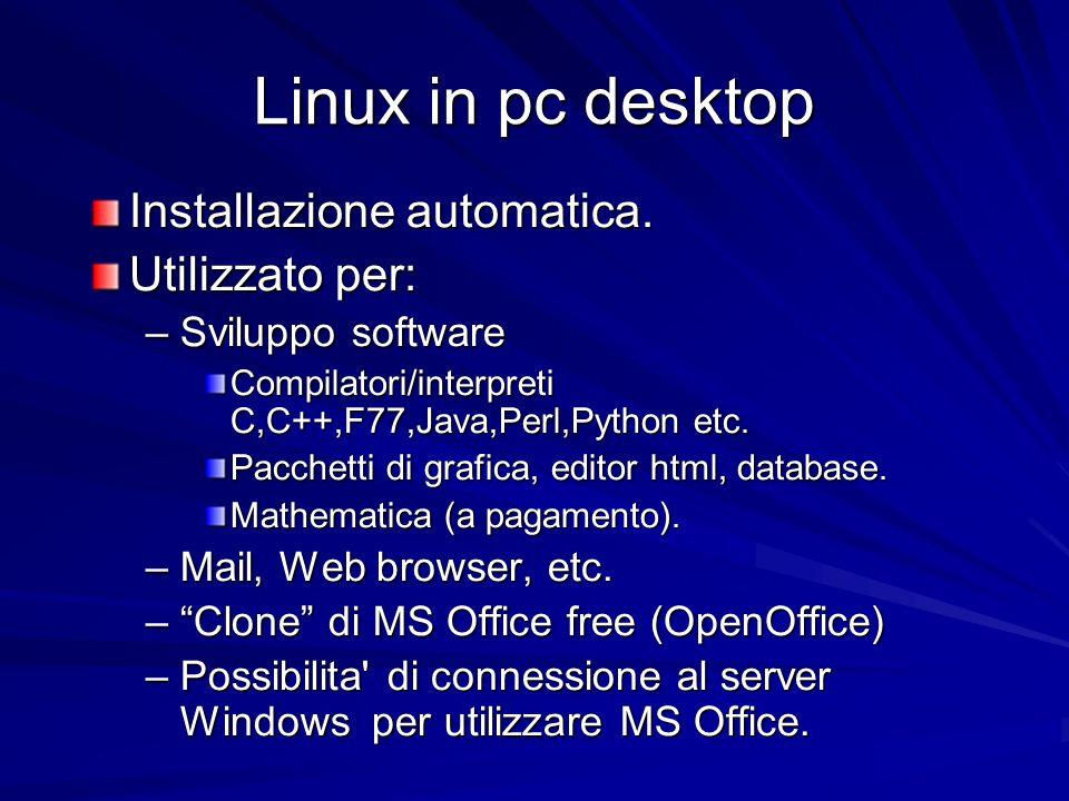 Linux in pc desktop Installazione automatica.