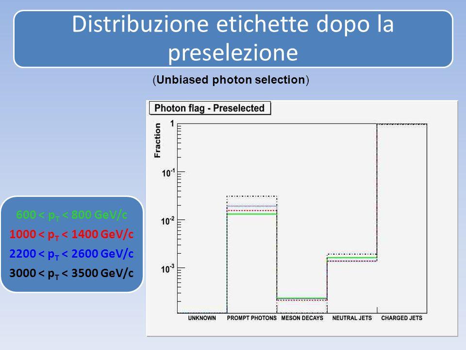 Distribuzione etichette dopo la preselezione 600 < p T < 800 GeV/c 1000 < p T < 1400 GeV/c 2200 < p T < 2600 GeV/c 3000 < p T < 3500 GeV/c (Unbiased photon selection)
