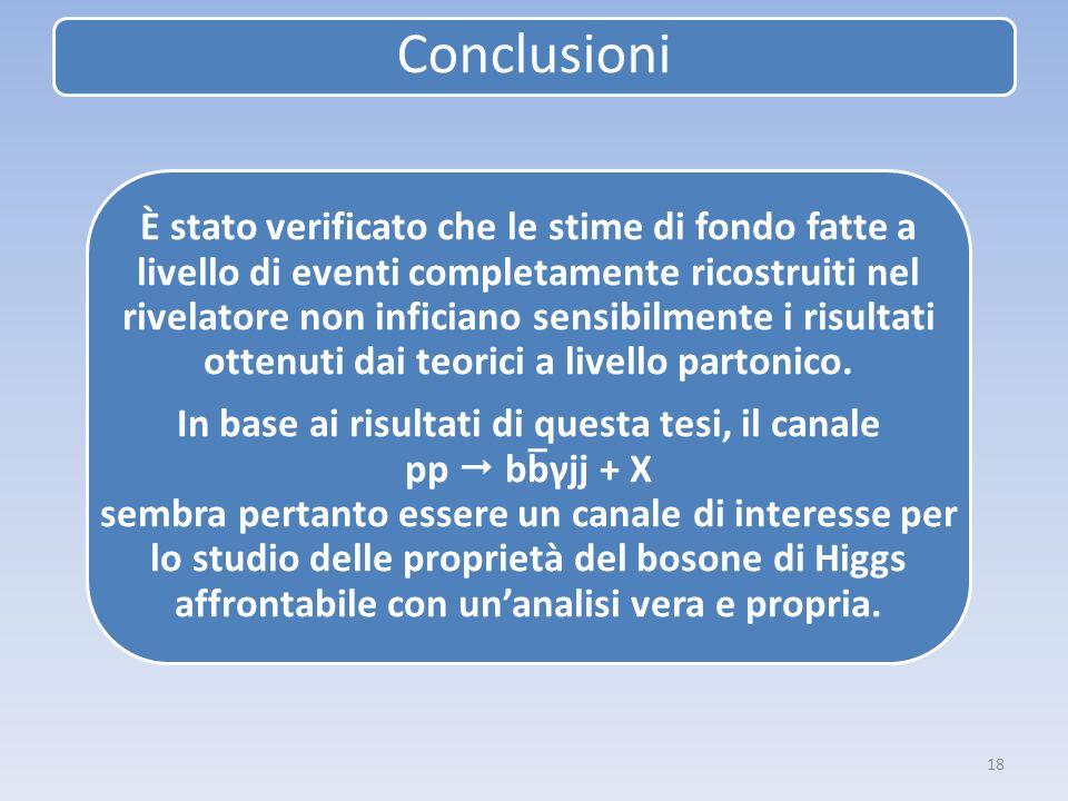 18 Conclusioni È stato verificato che le stime di fondo fatte a livello di eventi completamente ricostruiti nel rivelatore non inficiano sensibilmente i risultati ottenuti dai teorici a livello partonico.
