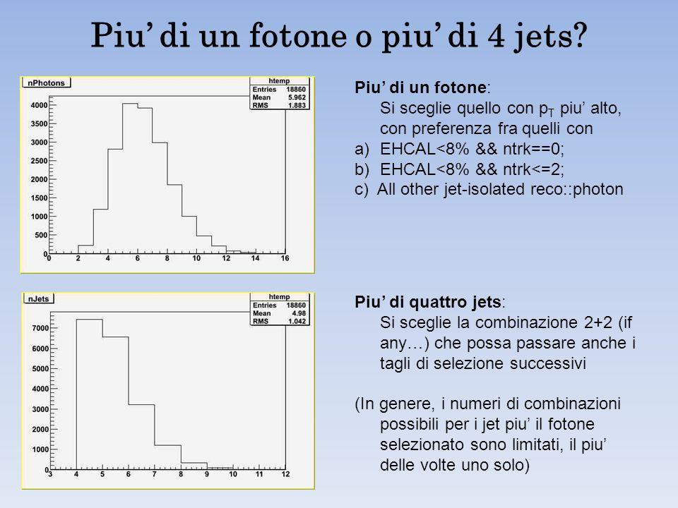 Piu di un fotone o piu di 4 jets? Piu di un fotone: Si sceglie quello con p T piu alto, con preferenza fra quelli con a)EHCAL<8% && ntrk==0; b)EHCAL<8