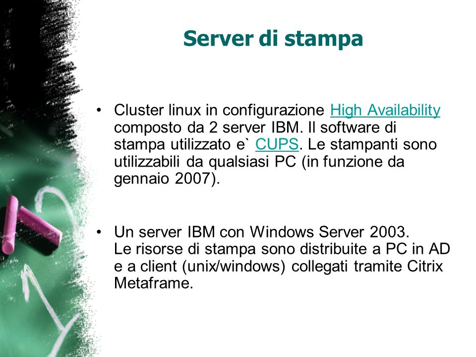 Server di stampa Cluster linux in configurazione High Availability composto da 2 server IBM. Il software di stampa utilizzato e` CUPS. Le stampanti so