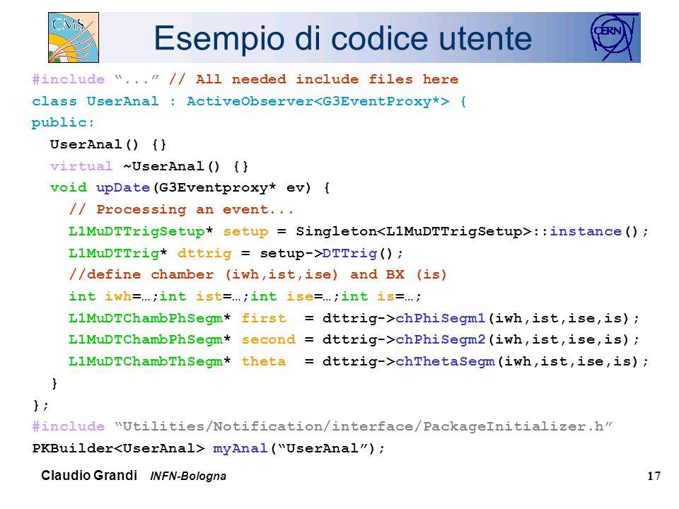 Claudio Grandi INFN-Bologna 17 Esempio di codice utente #include...