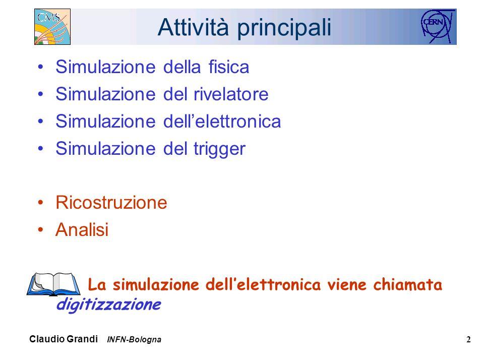 Claudio Grandi INFN-Bologna 2 Attività principali Simulazione della fisica Simulazione del rivelatore Simulazione dellelettronica Simulazione del trigger Ricostruzione Analisi La simulazione dellelettronica viene chiamata digitizzazione