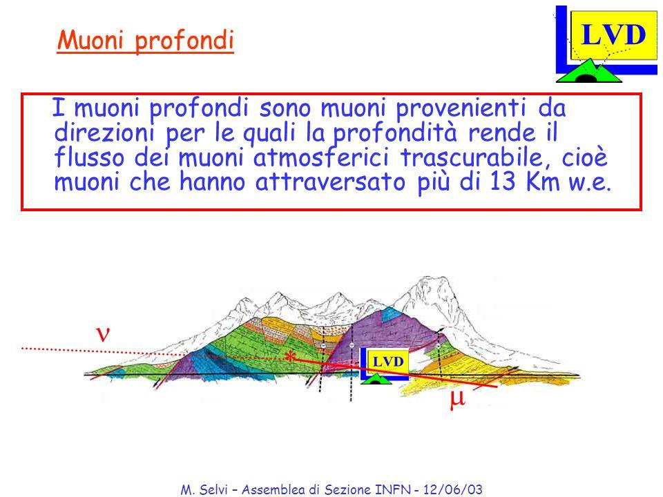 M. Selvi – Assemblea di Sezione INFN - 12/06/03 Muoni profondi I muoni profondi sono muoni provenienti da direzioni per le quali la profondità rende i