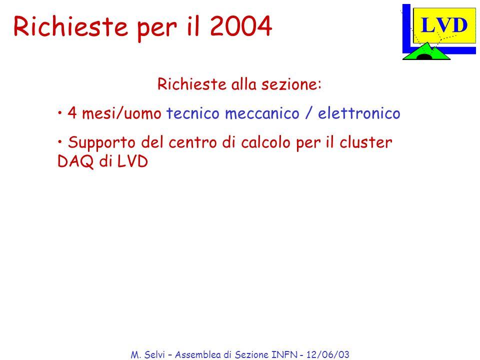 M. Selvi – Assemblea di Sezione INFN - 12/06/03 Richieste per il 2004 Richieste alla sezione: 4 mesi/uomo tecnico meccanico / elettronico Supporto del