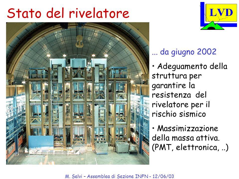 M. Selvi – Assemblea di Sezione INFN - 12/06/03 Stato del rivelatore... da giugno 2002 Adeguamento della struttura per garantire la resistenza del riv