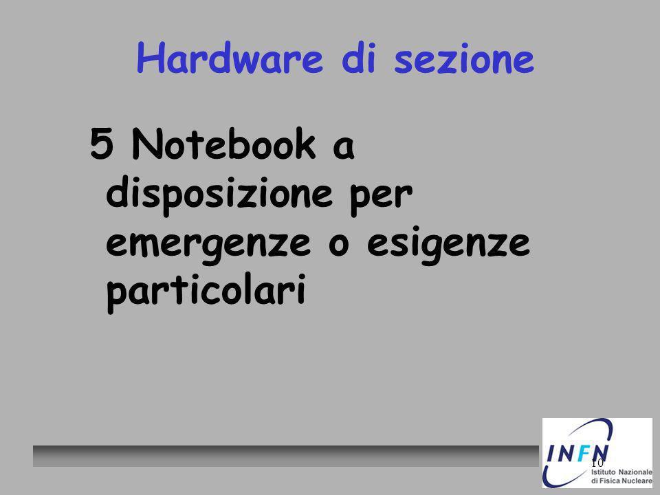 10 Hardware di sezione 5 Notebook a disposizione per emergenze o esigenze particolari