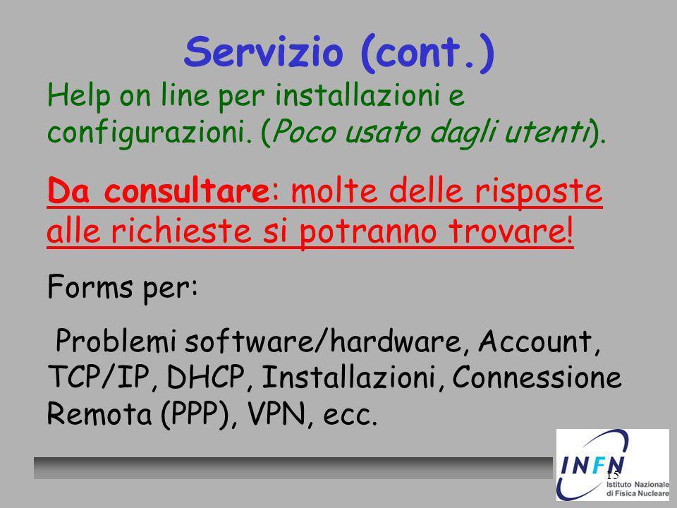 15 Servizio (cont.) Help on line per installazioni e configurazioni. (Poco usato dagli utenti). Da consultare: molte delle risposte alle richieste si
