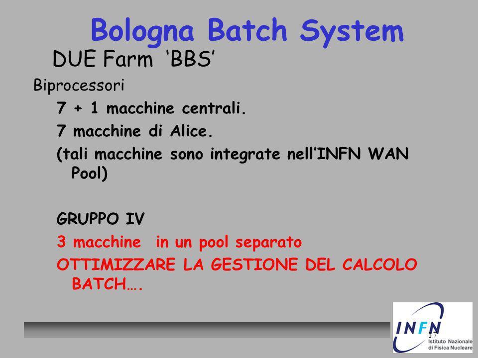 17 Bologna Batch System DUE Farm BBS Biprocessori 7 + 1 macchine centrali. 7 macchine di Alice. (tali macchine sono integrate nellINFN WAN Pool) GRUPP