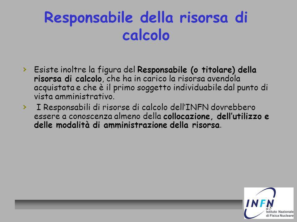 23 Responsabile della risorsa di calcolo Esiste inoltre la figura del Responsabile (o titolare) della risorsa di calcolo, che ha in carico la risorsa