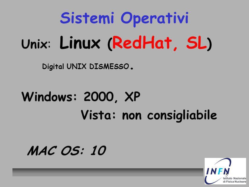 5 Sistemi Operativi Unix: Linux ( RedHat, SL ) Digital UNIX DISMESSO. Windows: 2000, XP Vista: non consigliabile MAC OS: 10