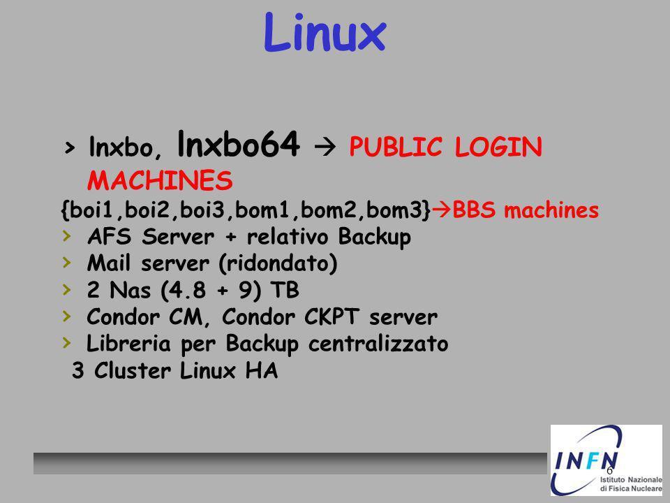 6 Linux > lnxbo, lnxbo64 PUBLIC LOGIN MACHINES {boi1,boi2,boi3,bom1,bom2,bom3} BBS machines AFS Server + relativo Backup Mail server (ridondato) 2 Nas