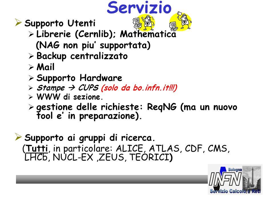 13 Servizio Supporto Utenti Librerie (Cernlib); Mathematica (NAG non piu supportata) Backup centralizzato Mail Supporto Hardware Stampe CUPS (solo da bo.infn.it!!!) WWW di sezione.