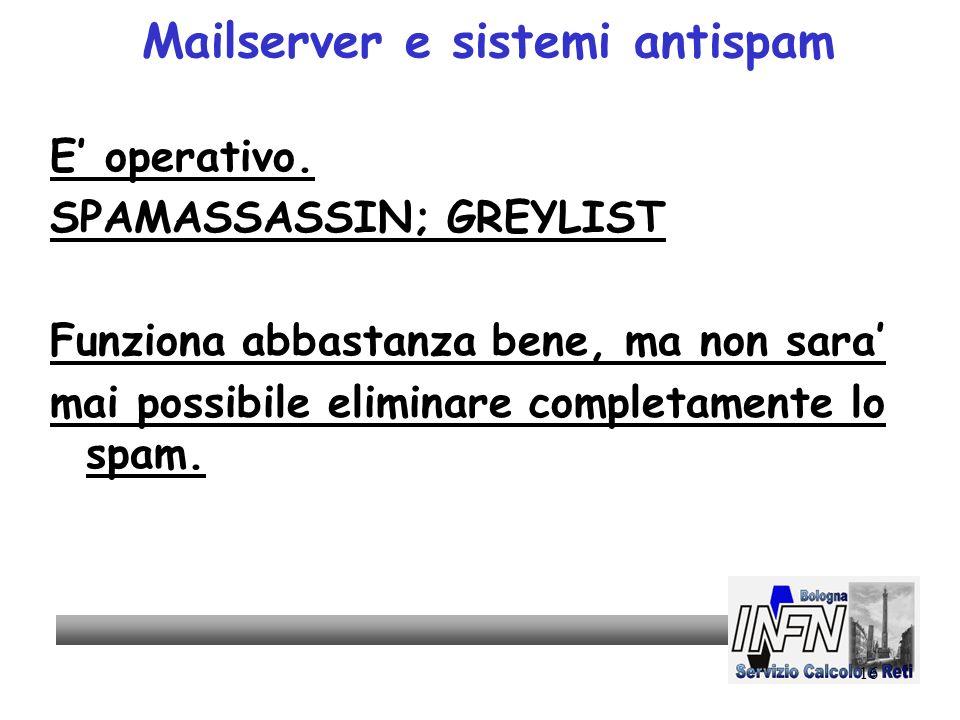 16 Mailserver e sistemi antispam E operativo.