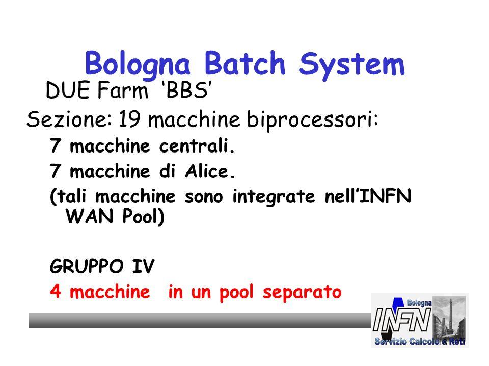 18 Bologna Batch System DUE Farm BBS Sezione: 19 macchine biprocessori: 7 macchine centrali.