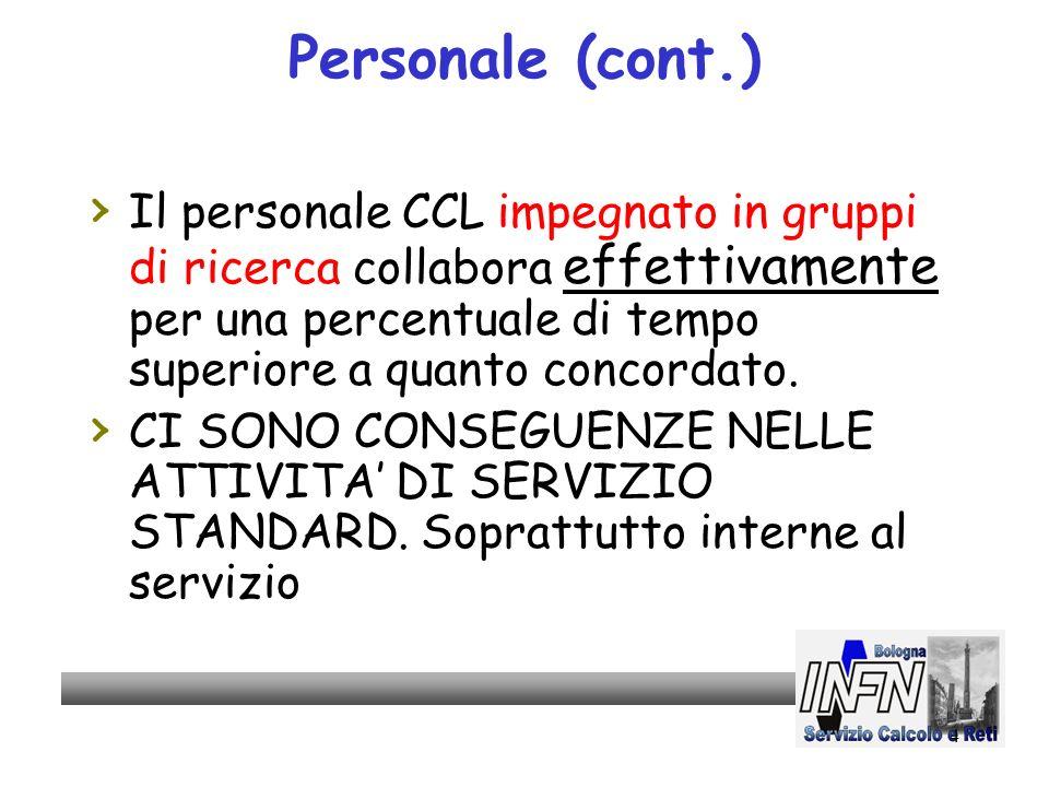 4 Personale (cont.) Il personale CCL impegnato in gruppi di ricerca collabora effettivamente per una percentuale di tempo superiore a quanto concordato.