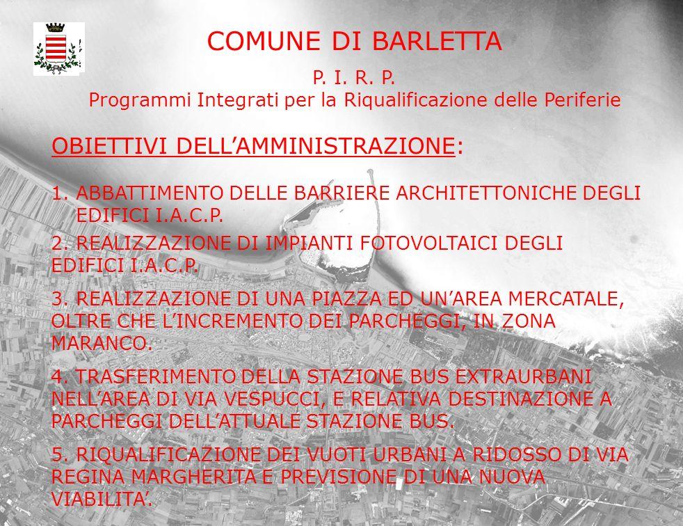 COMUNE DI BARLETTA P. I. R. P. Programmi Integrati per la Riqualificazione delle Periferie OBIETTIVI DELLAMMINISTRAZIONE: 1. ABBATTIMENTO DELLE BARRIE