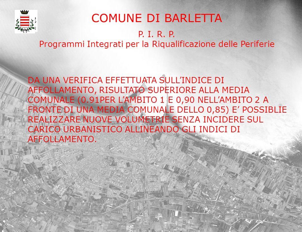 COMUNE DI BARLETTA P. I. R. P. Programmi Integrati per la Riqualificazione delle Periferie DA UNA VERIFICA EFFETTUATA SULLINDICE DI AFFOLLAMENTO, RISU
