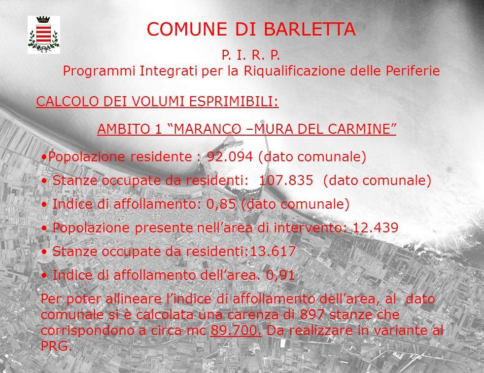 COMUNE DI BARLETTA P. I. R. P. Programmi Integrati per la Riqualificazione delle Periferie CALCOLO DEI VOLUMI ESPRIMIBILI: Popolazione residente : 92.