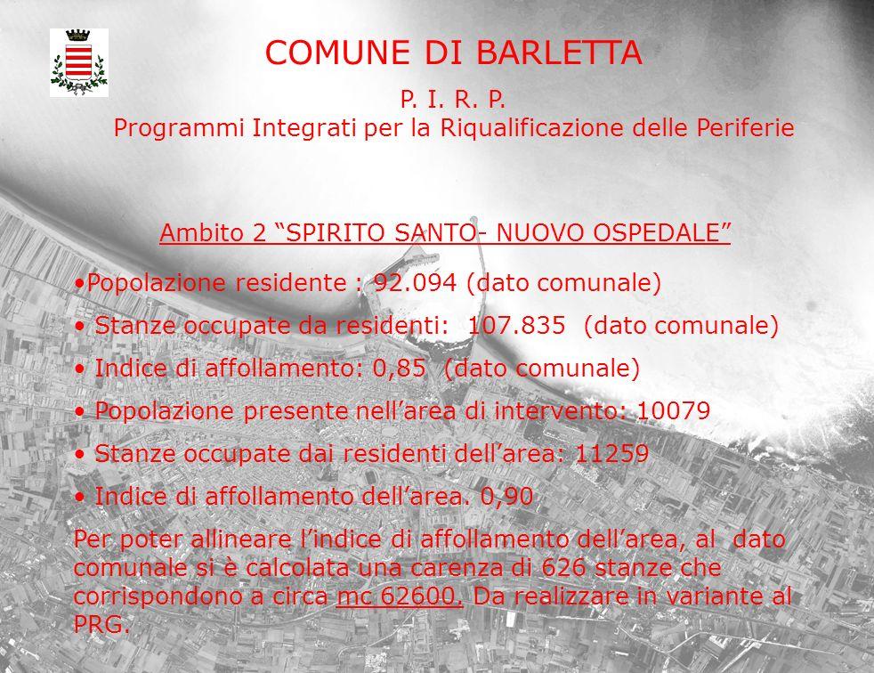 COMUNE DI BARLETTA P. I. R. P. Programmi Integrati per la Riqualificazione delle Periferie Popolazione residente : 92.094 (dato comunale) Stanze occup