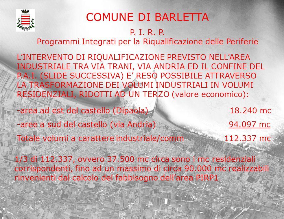 COMUNE DI BARLETTA P. I. R. P. Programmi Integrati per la Riqualificazione delle Periferie LINTERVENTO DI RIQUALIFICAZIONE PREVISTO NELLAREA INDUSTRIA