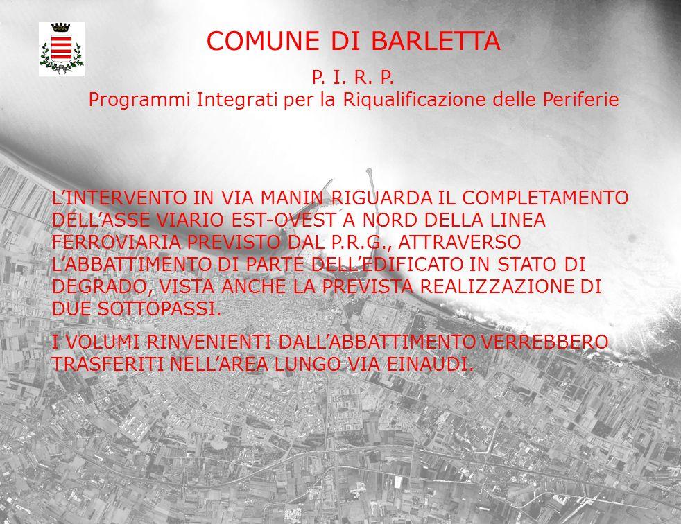 COMUNE DI BARLETTA P. I. R. P. Programmi Integrati per la Riqualificazione delle Periferie LINTERVENTO IN VIA MANIN RIGUARDA IL COMPLETAMENTO DELLASSE