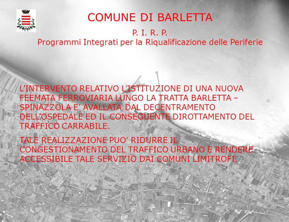 COMUNE DI BARLETTA P. I. R. P. Programmi Integrati per la Riqualificazione delle Periferie LINTERVENTO RELATIVO LISTITUZIONE DI UNA NUOVA FEEMATA FERR