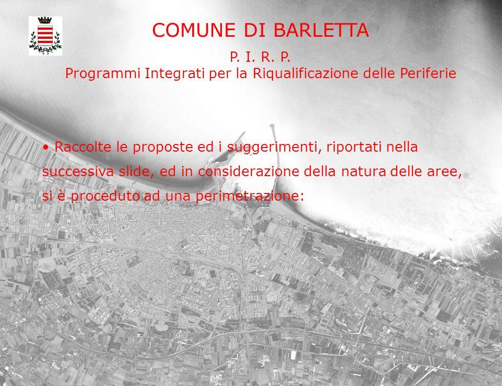 COMUNE DI BARLETTA P. I. R. P. Programmi Integrati per la Riqualificazione delle Periferie Raccolte le proposte ed i suggerimenti, riportati nella suc