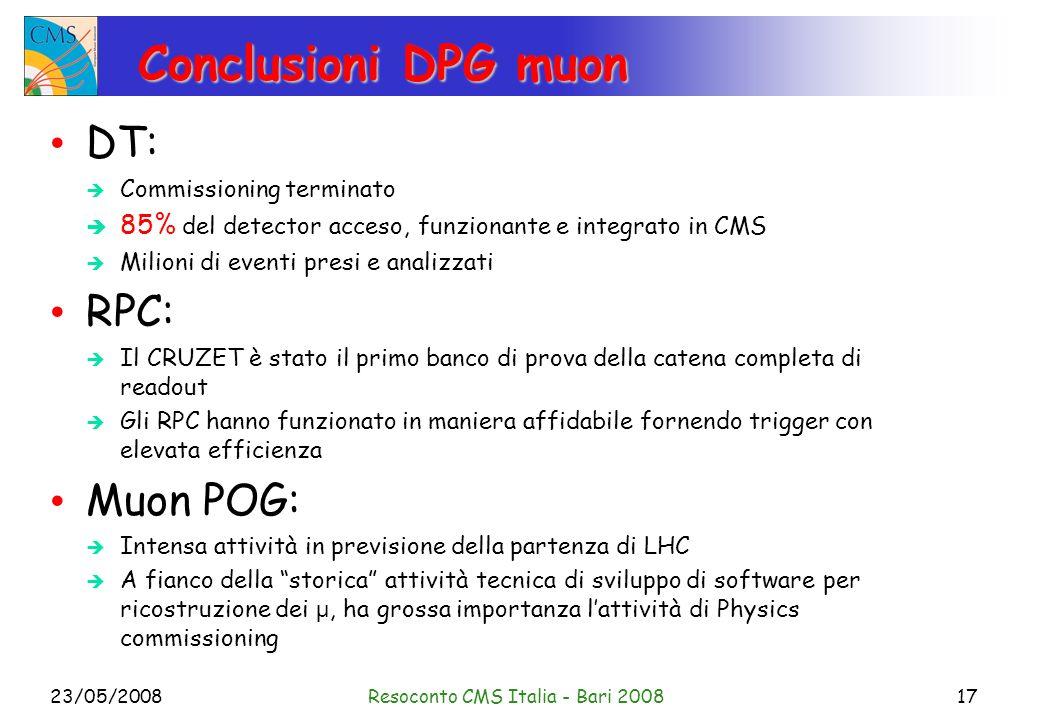 23/05/2008Resoconto CMS Italia - Bari 200817 Conclusioni DPG muon DT: Commissioning terminato 85% del detector acceso, funzionante e integrato in CMS