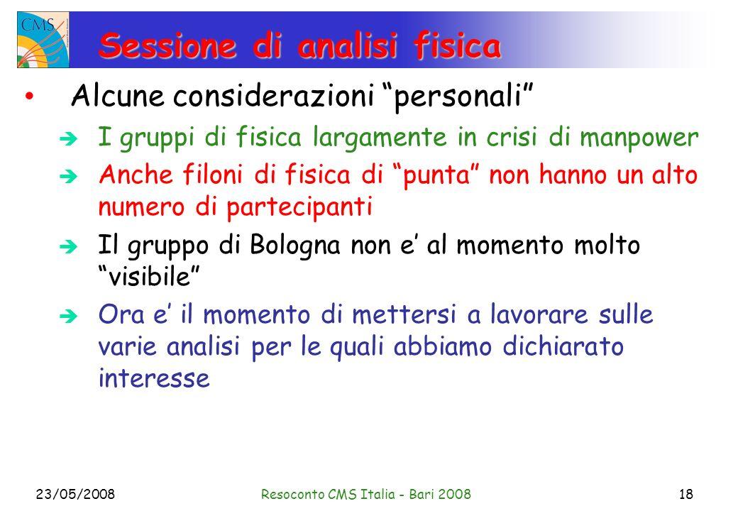 23/05/2008Resoconto CMS Italia - Bari 200818 Sessione di analisi fisica Alcune considerazioni personali I gruppi di fisica largamente in crisi di manp