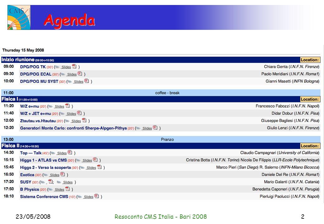 23/05/2008Resoconto CMS Italia - Bari 20083 Agenda Le slides sono su; http://webcms.ba.infn.it/~cmsitalia/index.htm