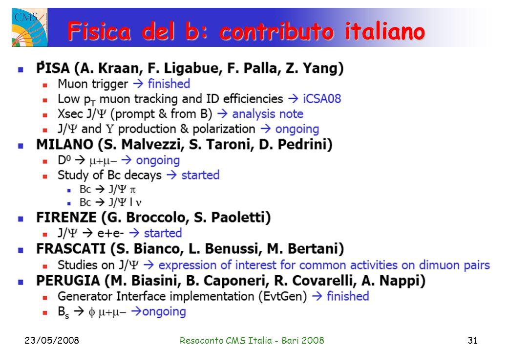23/05/2008Resoconto CMS Italia - Bari 200831 Fisica del b: contributo italiano